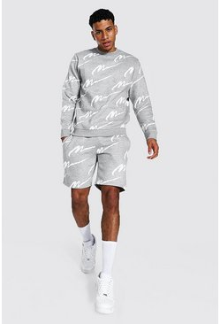 Grey marl grey All Over Man Print Sweater Short Tracksuit