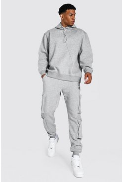 Man Oversized Utility Hooded Tracksuit, Grey marl grigio