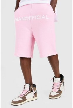 Pale pink Man Official Drop Crotch Printed Short