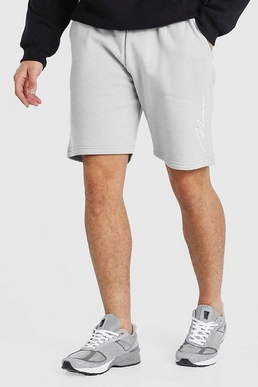 Slate grey 3D MAN Signature Embroidered Short