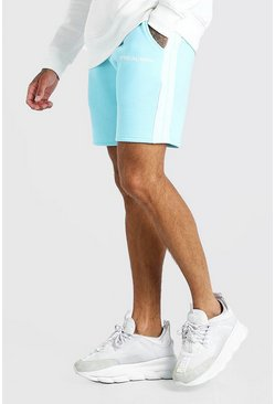Pale blue MAN Official Relaxed Fit Shorts With Tape