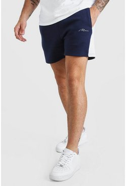 Navy Man Signature Jersey Short With Side Panel