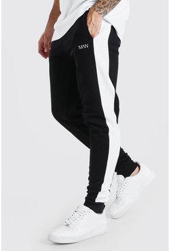 Black Original Man Skinny Fit Jogger With Side Panel