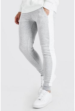 Grey marl grey Super Skinny Jogger With Side Panel