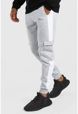 Grey marl grey Man Signature Skinny Side Panel Cargo Jogger