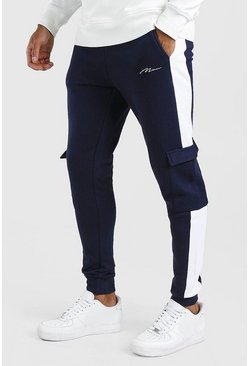 Navy Man Signature Skinny Side Panel Cargo Jogger