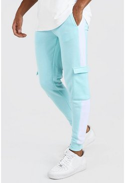 Pale blue blue Man Signature Skinny Side Panel Cargo Jogger