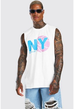 White Oversized NY Basketball Drop Armhole Tank