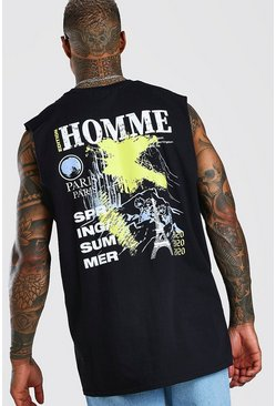 Black Oversized Homme Back Print Dtop Armhole Tank