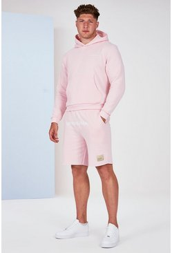 Roze pink Big and Tall Man Official pastelkleurige hoodie