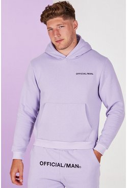 Lilac grey Big And Tall Man Official Pastel Hoodie