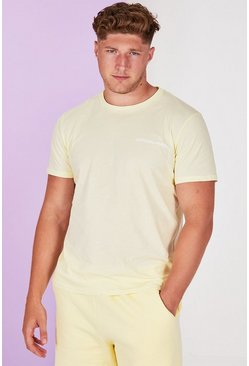 Geel yellow Plusmaat MAN Official pastel T-shirt