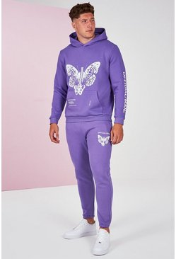 Lilac Plus Size Pigment Dye Butterfly Tracksuit