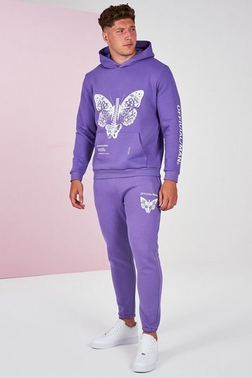 Lilac purple Big And Tall Pigment Dye Butterfly Tracksuit