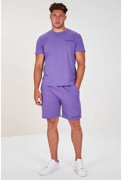 Lilac purple Plus Size Man Official T-shirt Set