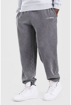 Charcoal grey MAN Official Loose Fit Acid Wash Jogger