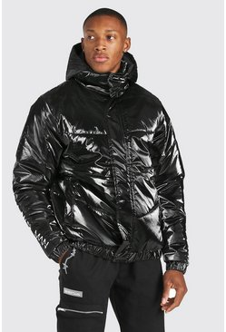 Black Man Dash Branded Back Detail Highshine Hood Puffer