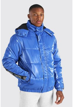 Blue Man Dash Branded Back Detail Highshine Hood Puffer