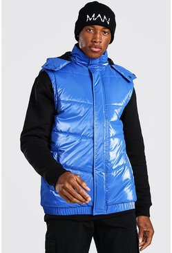 Blue Man Dash Branded Back Detail Highshine Hooded Gilet