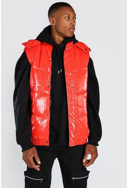 Red MAN DASH BRANDED BACK DETAIL HIGHSHINE HOODED GILET