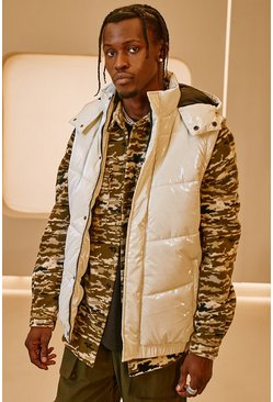 Stone beige MAN Official High Shine Hooded Gilet