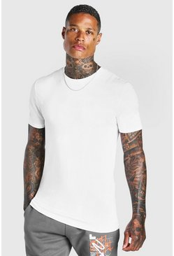 Wit white Basic muscle fit T-shirt met ronde hals