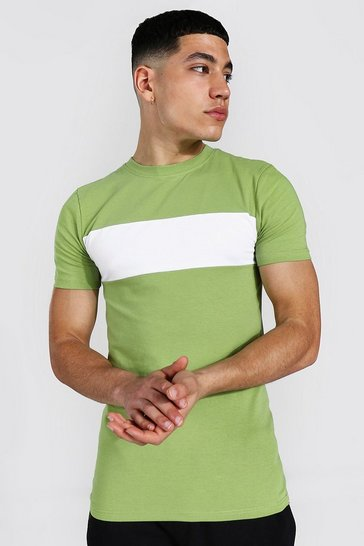 Khaki Muscle Fit Longline Colour Block T-shirt