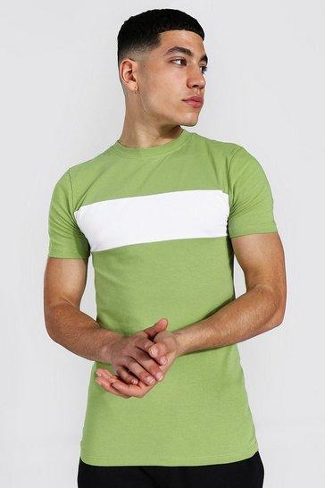 Khaki Muscle Fit Longline Colour Block T-shirt