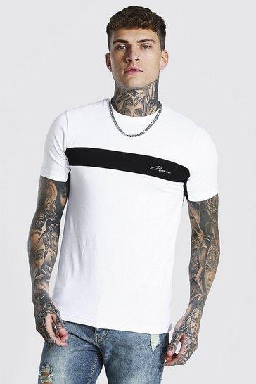 White Muscle Fit Man Signature Colour Block T-shirt