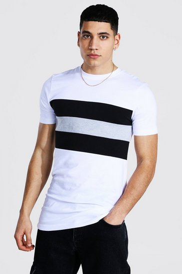 White Muscle Fit Longline Block Panel T-shirt
