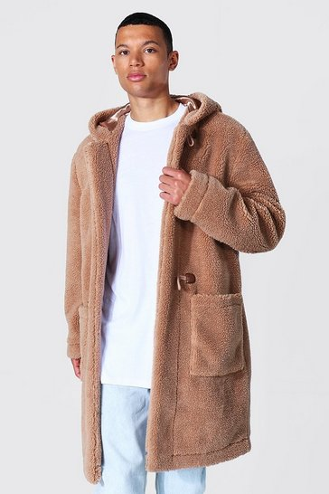 Tan brown Tall Borg Hooded Duffle Coat