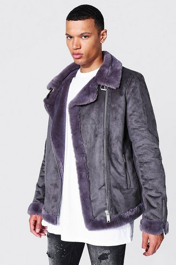 Charcoal grey Tall Faux Fur Lined Suede Aviator
