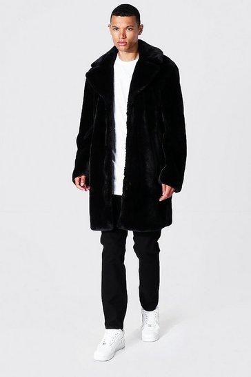 Black Tall Faux Fur Overcoat