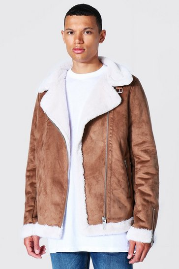 Tan brown Tall Faux Fur Lined Suede Aviator