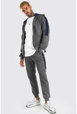 Light grey Zip Hooded Poly Tracksuit With Panels