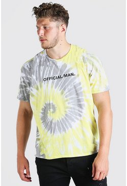 Yellow Plus Size Official MAN Tie Dye T-Shirt