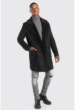 Black Faux Suede Borg Lined Overcoat