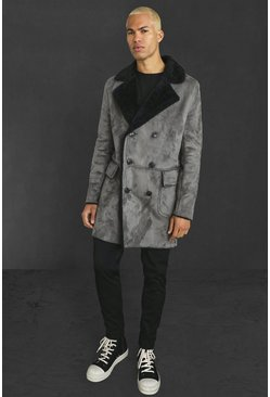 Charcoal grey Faux Suede Borg Lined Overcoat