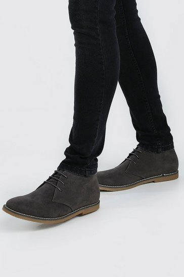 Grey Gum Sole Faux Suede Desert Boot