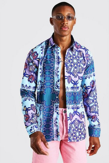 Blue Long Sleeve Bright Border Print Shirt