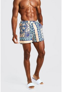 Mint green Bright Baroque Print Swim Shorts
