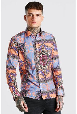 Red Long Sleeve Bright Baroque Print Shirt