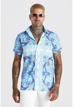 Blue Short Sleeve Bright Border Print Shirt