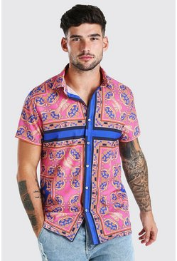 Pink Short Sleeve Bright Baroque Print Shirt