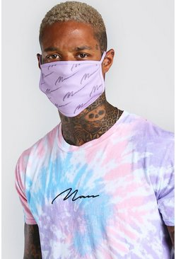 Lilac purple MAN Script All Over Printed Fashion Mask