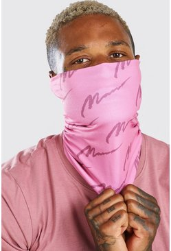 Pink MAN Script All Over Print Fashion Snood