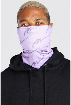 Lilac MAN Script All Over Print Fashion Snood