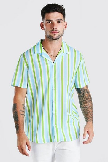 Blue Short Sleeve Revere Collar Stripe Shirt