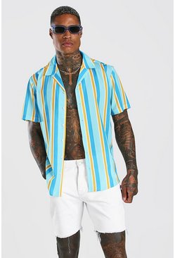 Mint green Short Sleeve Revere Collar Stripe Shirt