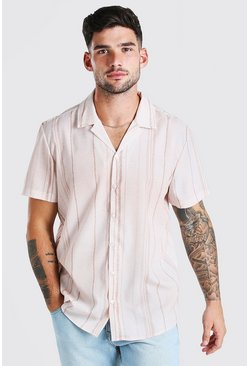 Stone beige Short Sleeve Revere Collar Stripe Shirt